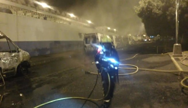 Ambulances destroyed in blaze, suspected to be intentional
