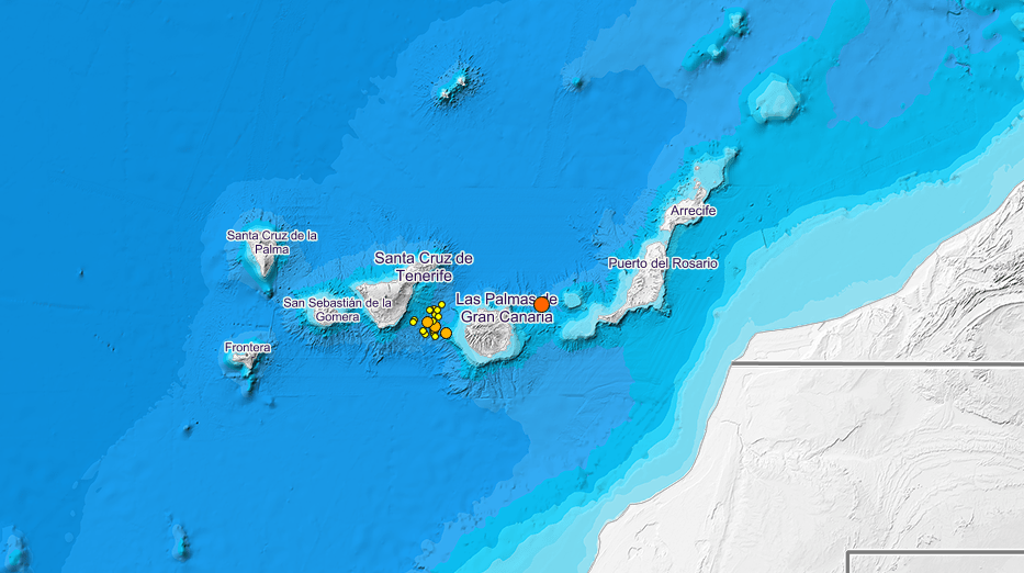 50 earthquakes and tremors in 24 hours around Gran Canaria