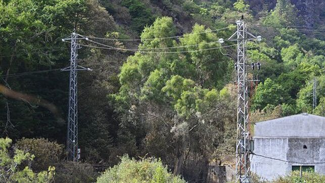 High voltage lines inside the lands of the Heredad de Aguas de Arucas, in Valsendero.